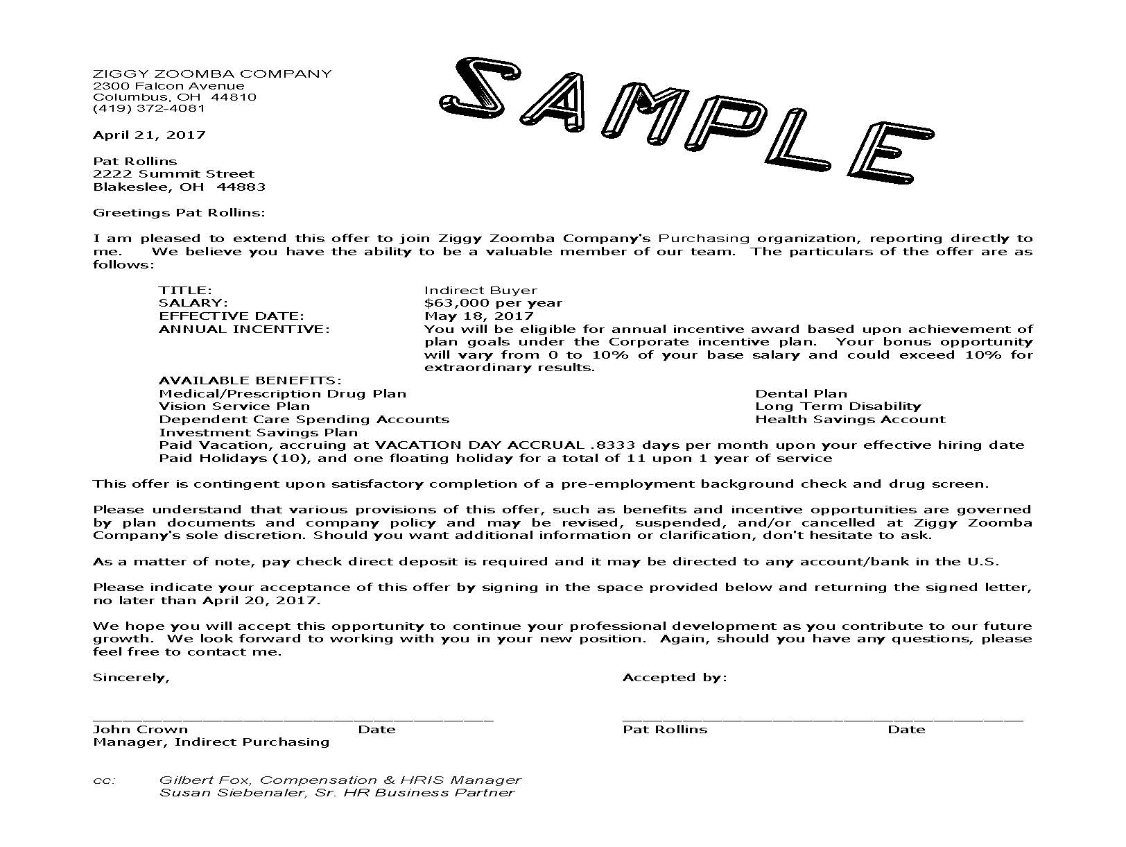 offer letter sample template resume builder sample job offer ...