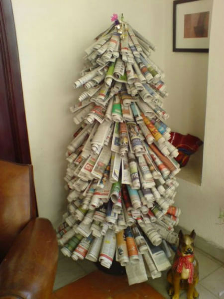 Innovative christmas trees made from recycled material Christmas tree ideas using recycled materials