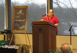 The morning of March 10, 2014 - Trish Anderson kicks off Staff Development Day.