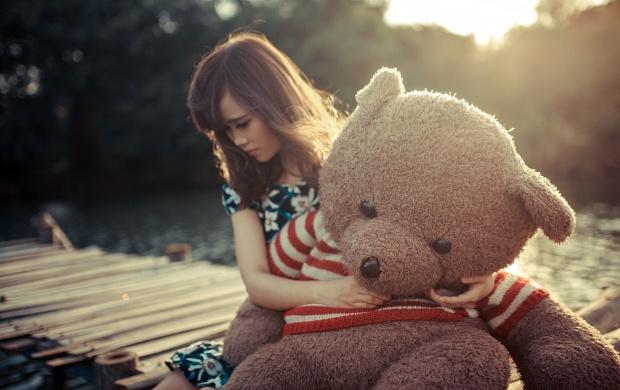 Animated Lonely Boy Wallpapers Sad Girl Hug Teddy Bear Wallpapers