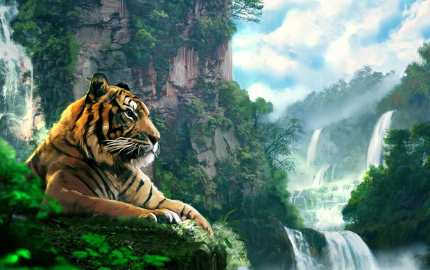 Fall Wallpaper Note 8 Tiger Forest Waterfall Art Wallpapers