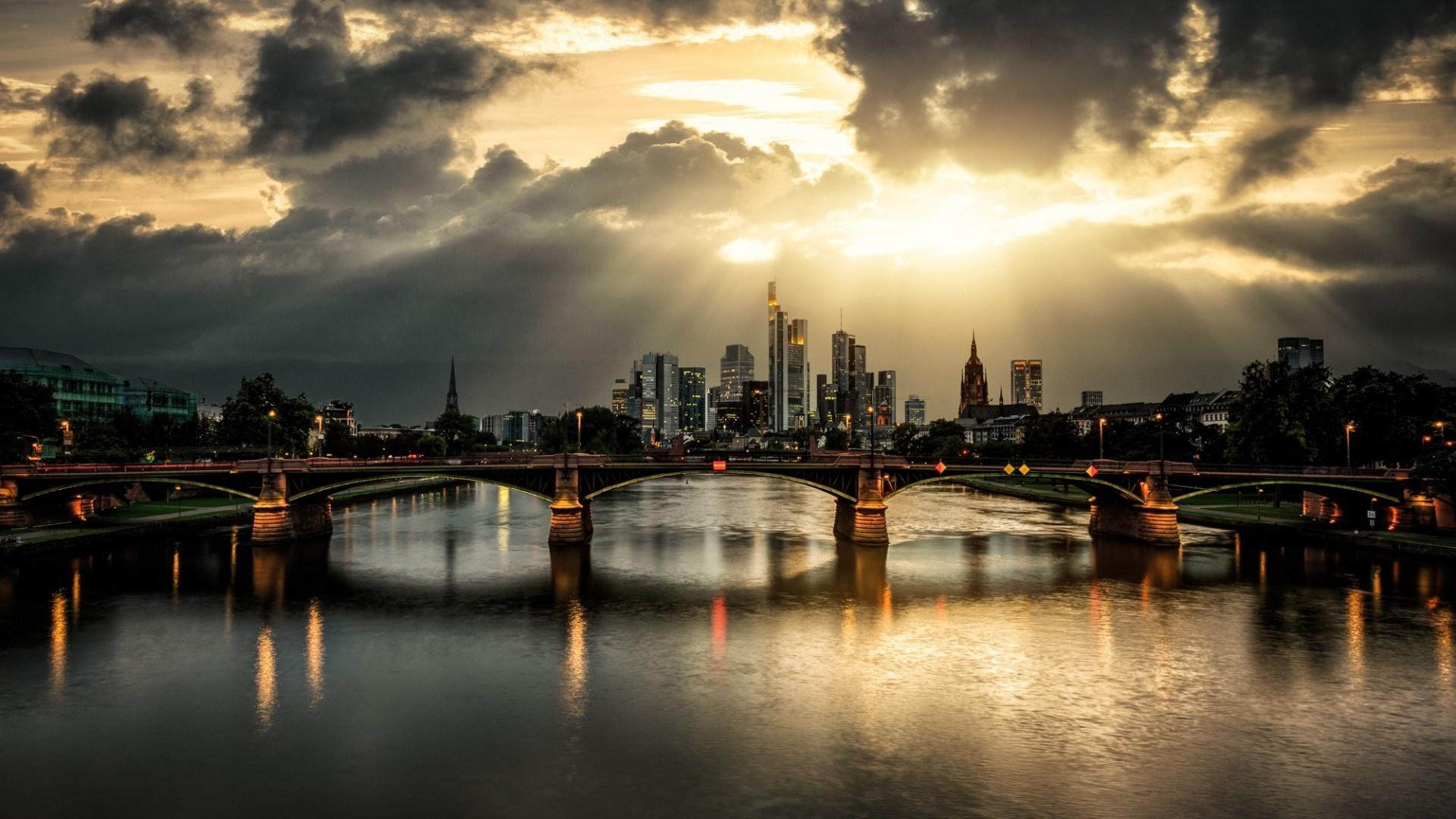 Skyscraper Wallpaper Hd City Bridge Clouds Rays River Wallpapers 1920x1080 513691