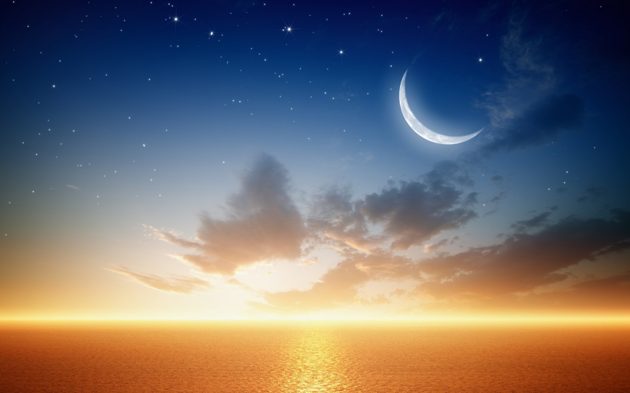 Night View Hd Wallpaper Fantastic Golden Sea Water Stars And Moon Wallpapers