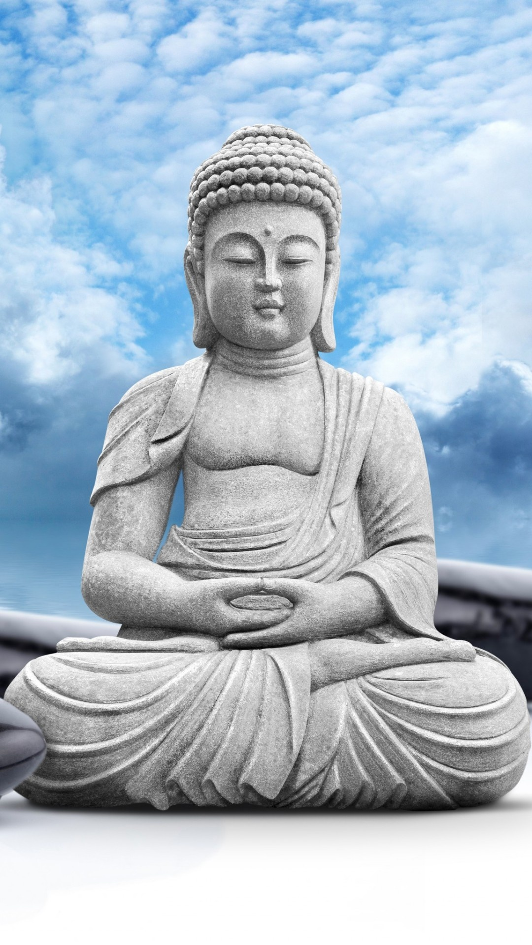 Flower Images 3d Wallpapers Lord Buddha Statue Sky Clouds Wallpapers 1080x1920 588396