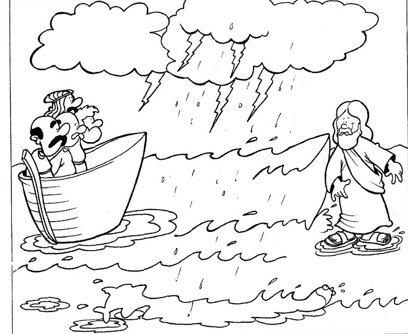 One of Miracles of Jesus is Walking on Water Coloring Page Bible - copy coloring pages for zacchaeus