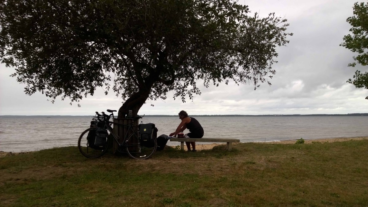 Photograph of Sarah sitting under a tree next to a lake and two bicycles in France.