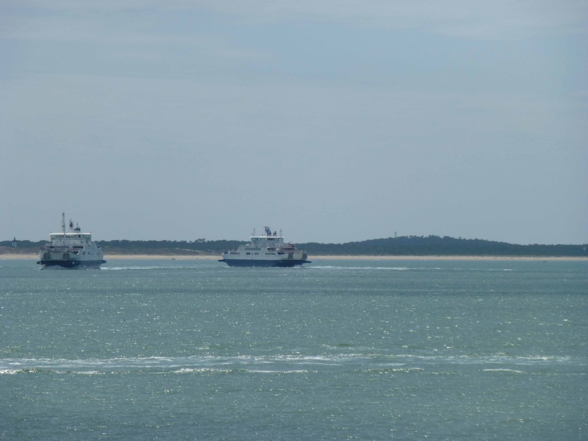 Photograph of two ferries making the crossing from Royan, France.