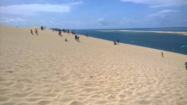 Photograph of sand dune and blue sea beyond