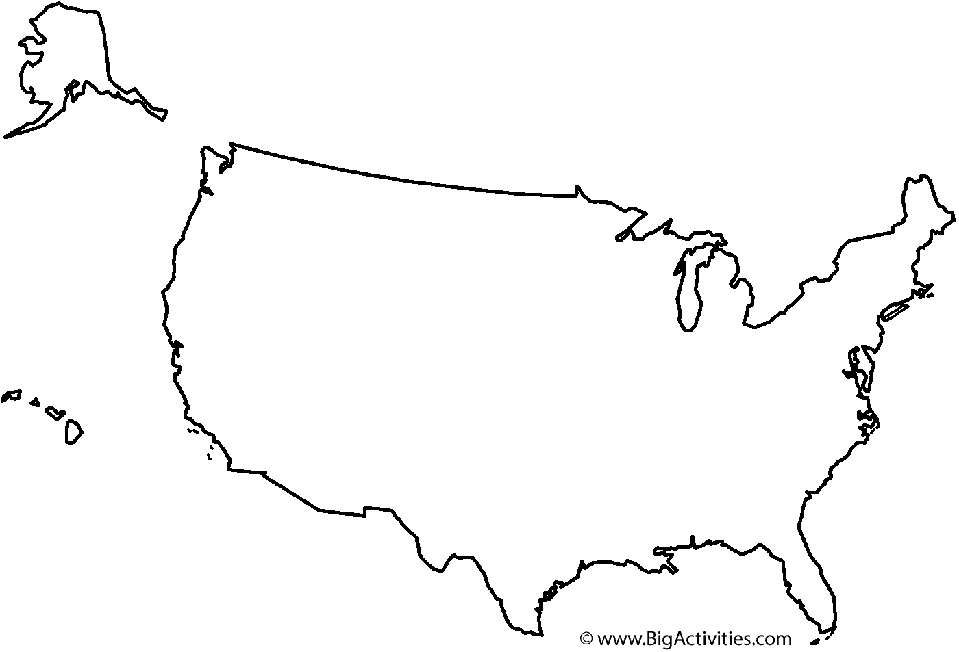 Coloring Pages Usa Map - Blank map of usa large