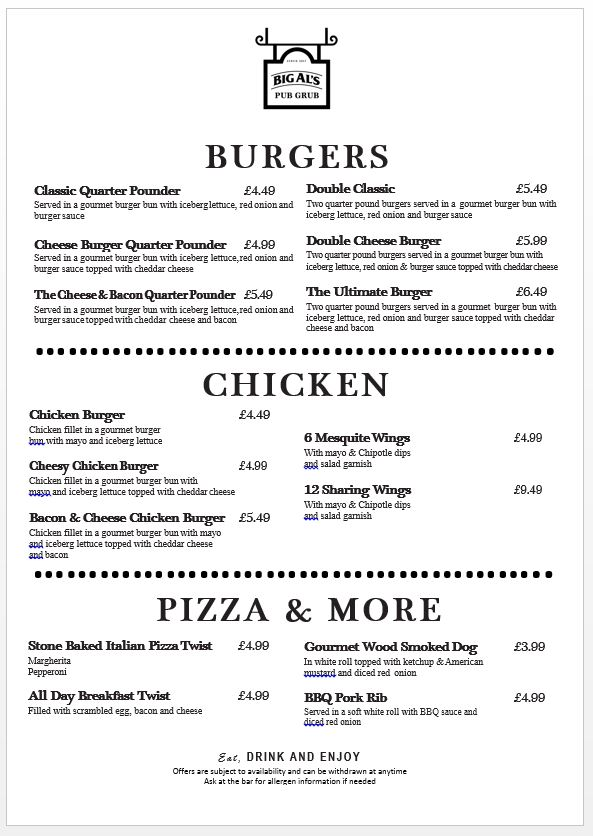 Editable Food Menu Templates - Big Al\u0027s Foodservice UK