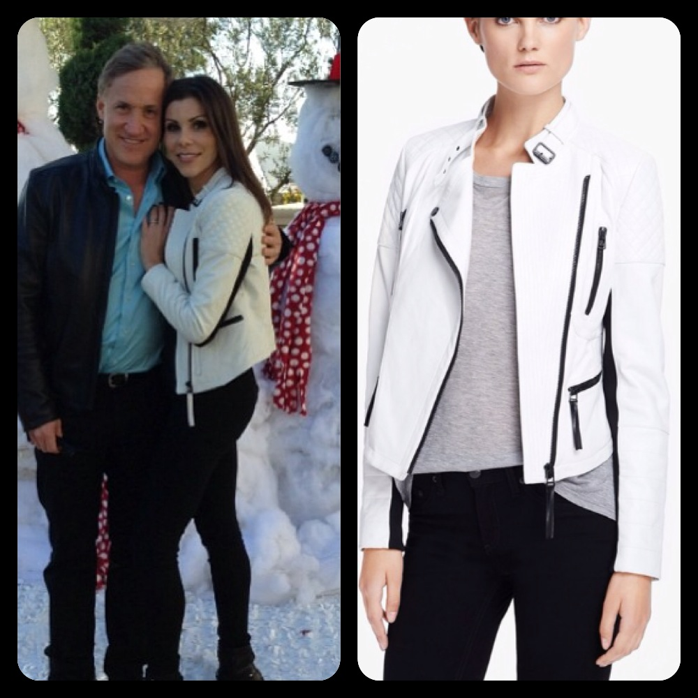 Heather dubrow s white leather jacket on instagram