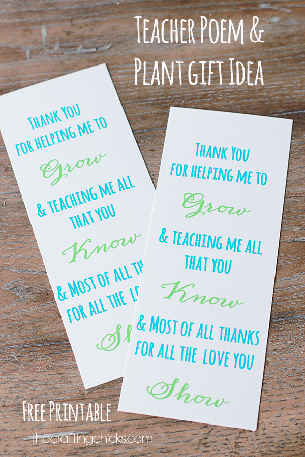 Thank You for Helping Me Grow Teacher Gift Idea