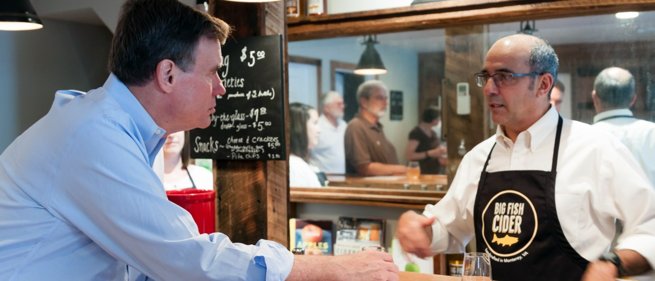Senator Mark Warner visits Big Fish Cider