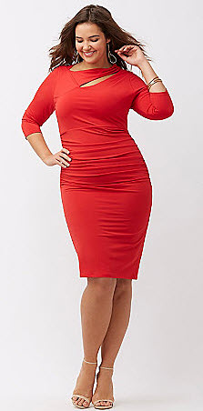 Red Dress with tummy control Pls Size womens fashion post features great red dress for the curvy girl