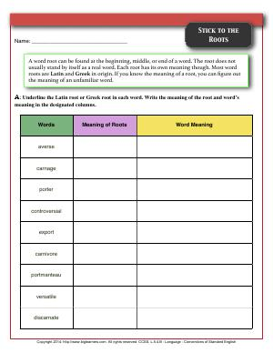 Greek and Latin Affixes and Roots | Fifth Grade English Worksheets | Biglearners