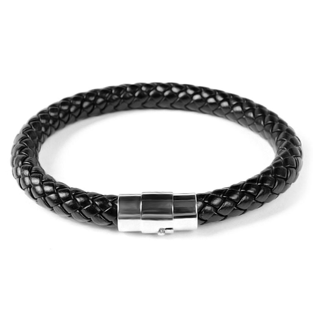d3d5381f51b Bracelet Homme Cuir Tresse Noir Fermoir Acier Aimante