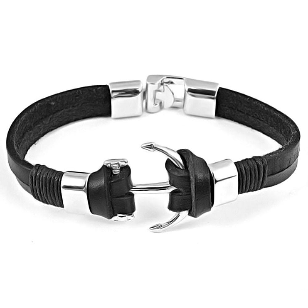 0cf23138152 Bracelet Homme Cuir Noir Ancre Fermoir Acier Bijouxstore
