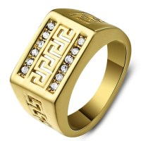 Men's Gold Plated Greek Key Ring With Cubic Zirconia Inlay ...