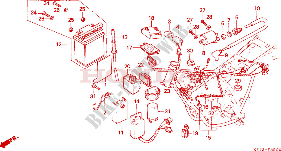 WIRE HARNESS IGNITION COIL BATTERY Frame MTX125RWE 1984 MTX 125 MOTO