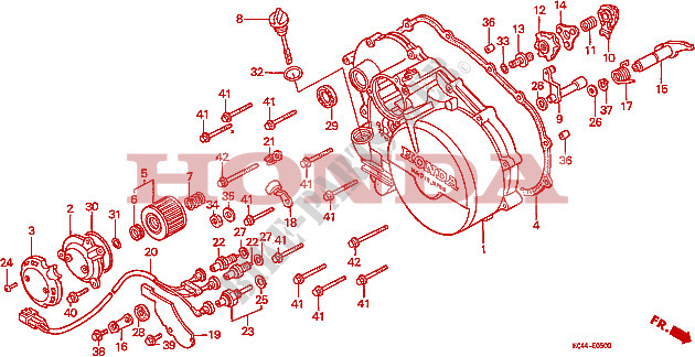 RIGHT CRANKCASE COVER Engine TRX300FWM 1991 FOURTRAX 300 ATV Honda