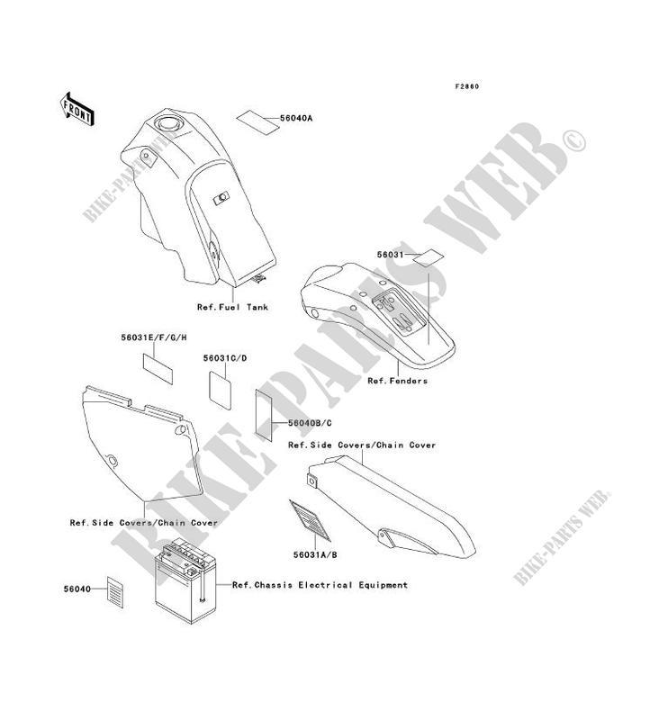 LABELS KLX650 C2 KLX650 1994 650 TOUT TERRAIN Kawasaki motorcycle