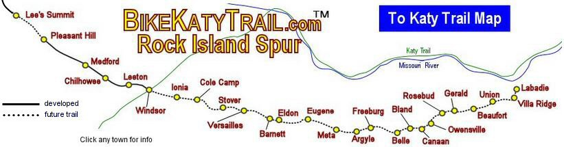 Katy Trail  Rock Island Spur Mileage Chart and Distances