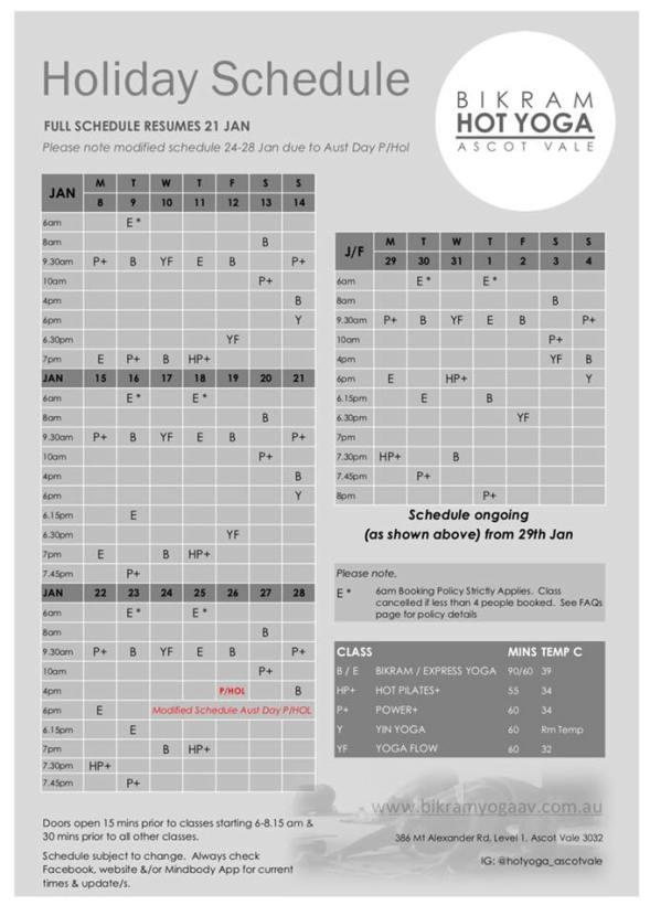 Holida Schedule Jan 18 on