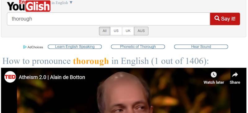 Youglish Teach English pronuncation