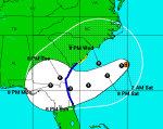Beryl's predicted track as of 2 a.m. Friday night/Saturday morning