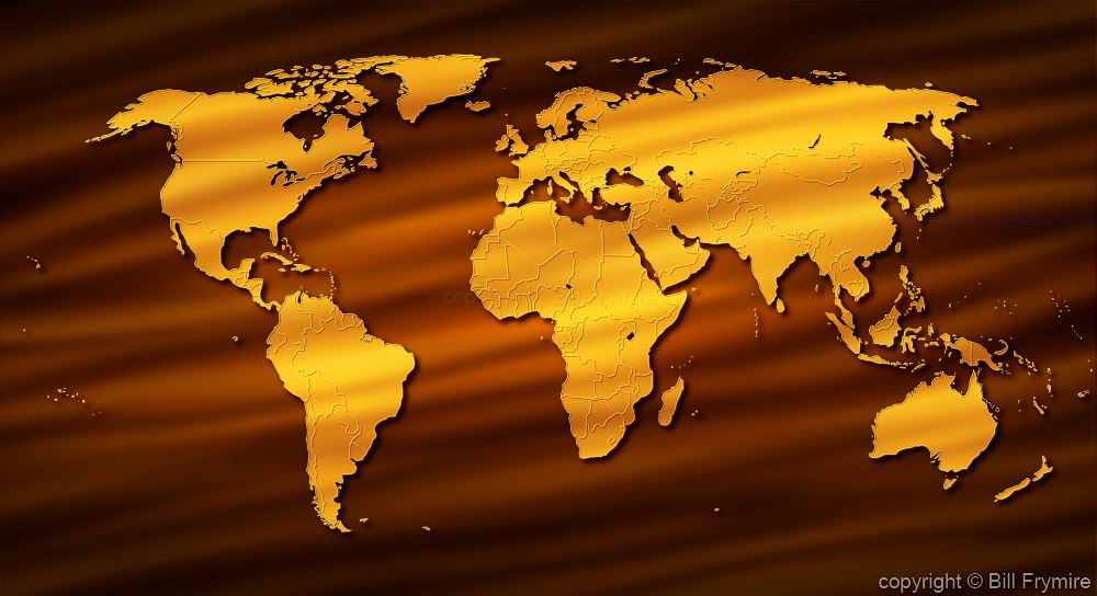 gold world map on brown background