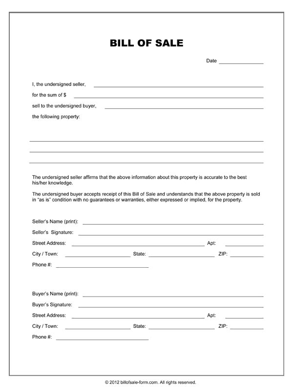 Blank Bill Of Sale Form - general bill of sale template