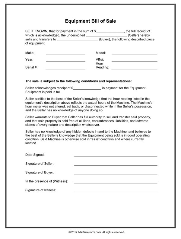 Equipment Bill Of Sale Form in Word and PDF