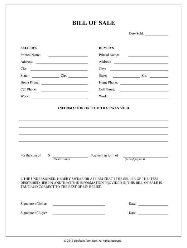 General Bill Of Sale Form - bill of sales forms