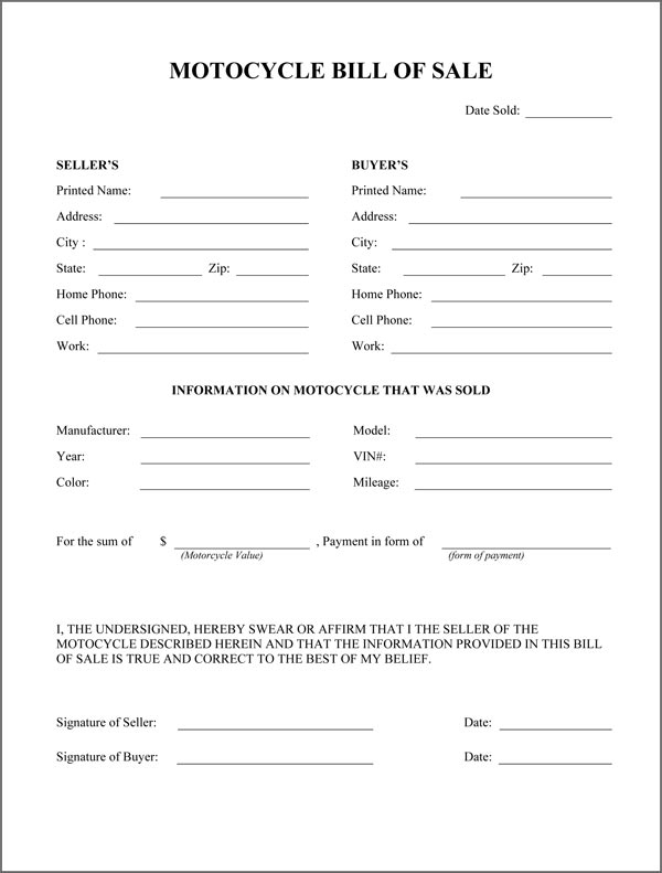 Motorcycle Bill Of Sale Form - motorcycle bill of sale