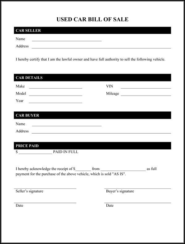 Used Car Bill Of Sale Form - auto bill of sale template