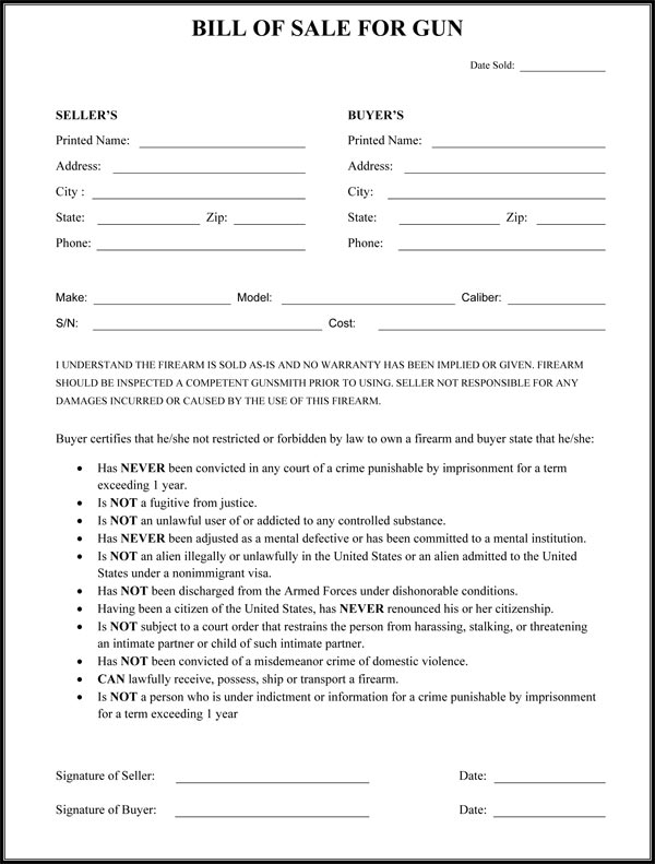 Gun Bill Of Sale Form - Printable Bill Of Sale