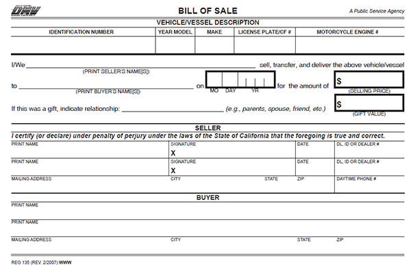 California Bill of Sale Form - bill of sale dmv