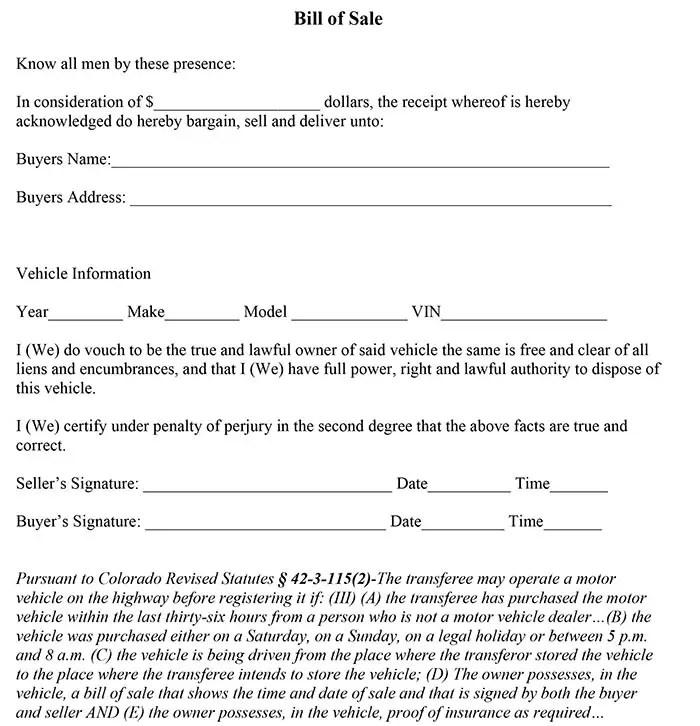 Colorado Bill of Sale Form - sample dmv bill of sale