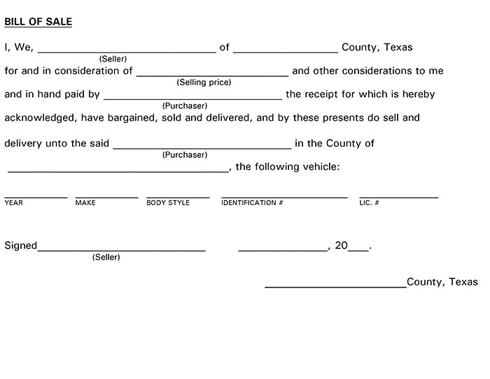 Texas Bill of Sale Form