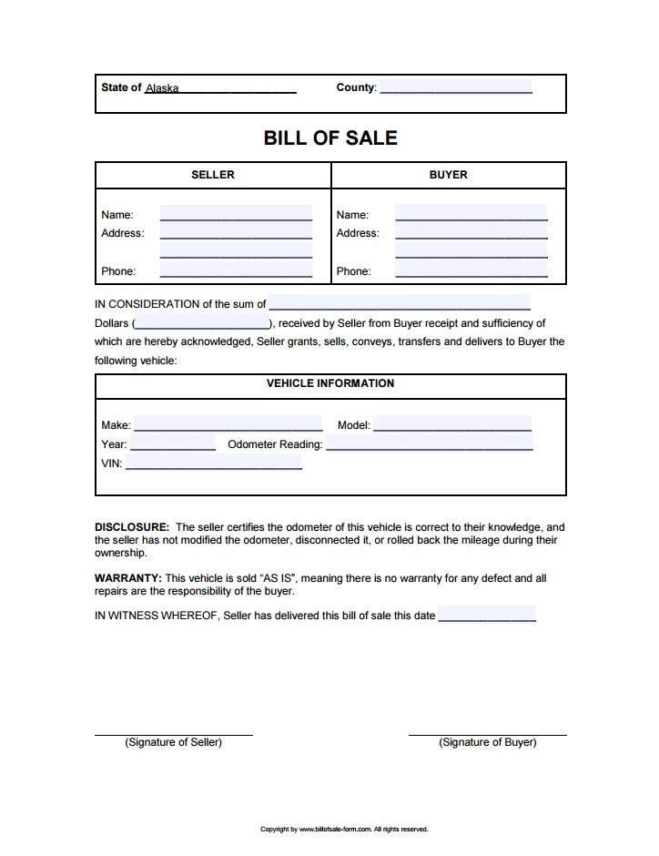 Alaska Bill of Sale - department of motor vehicles bill of sale form