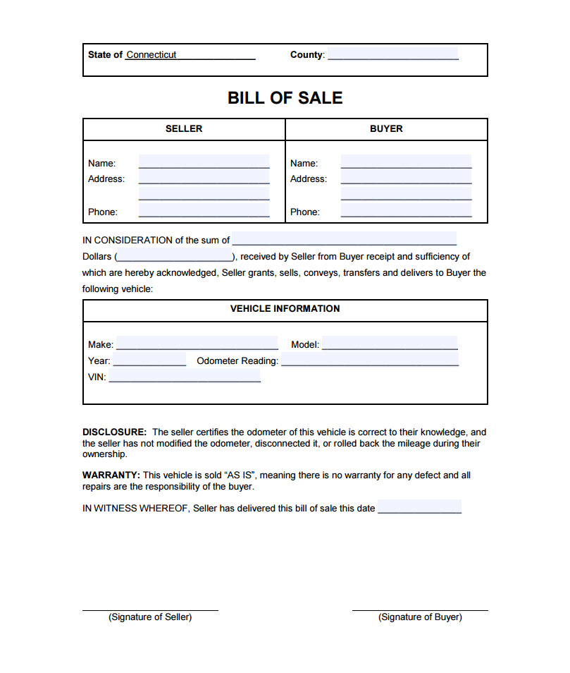 Connecticut Bill Of Sale - department of motor vehicles bill of sale form