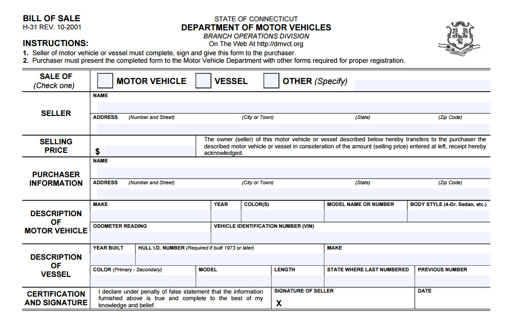 Connecticut Bill Of Sale - bill of sale dmv