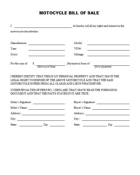 bill of sale form template - simple auto bill of sale template