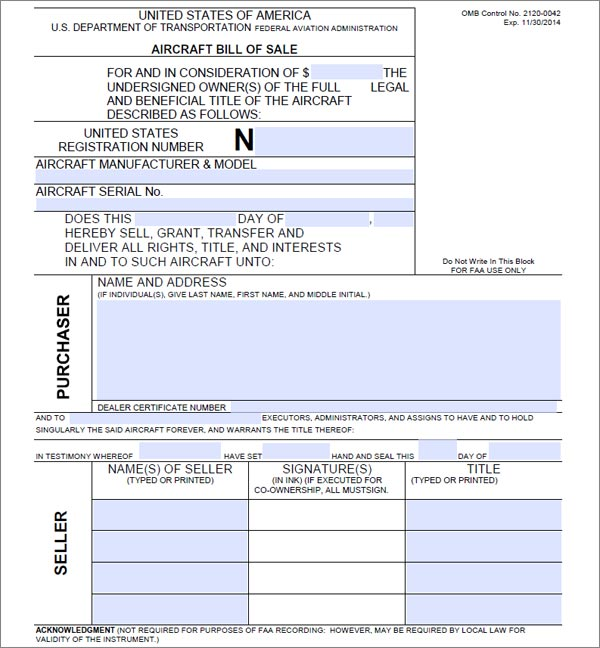 Aircraft Bill of Sale