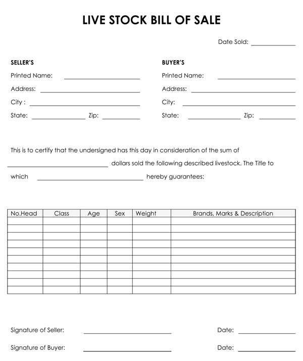 Livestock Bill Of Sale - bill of sales forms