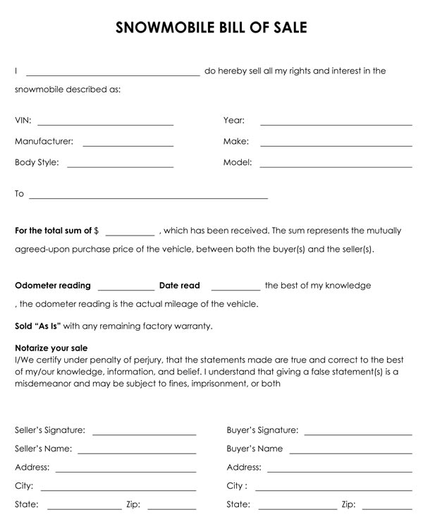 Snowmobile Bill Of Sale - bill of sales forms