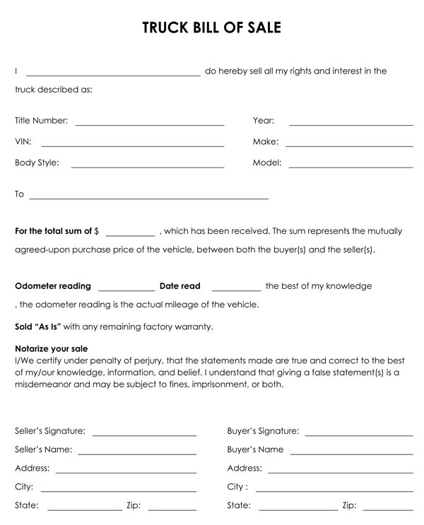 Bill of Sale Template - nc dmv bill of sale form