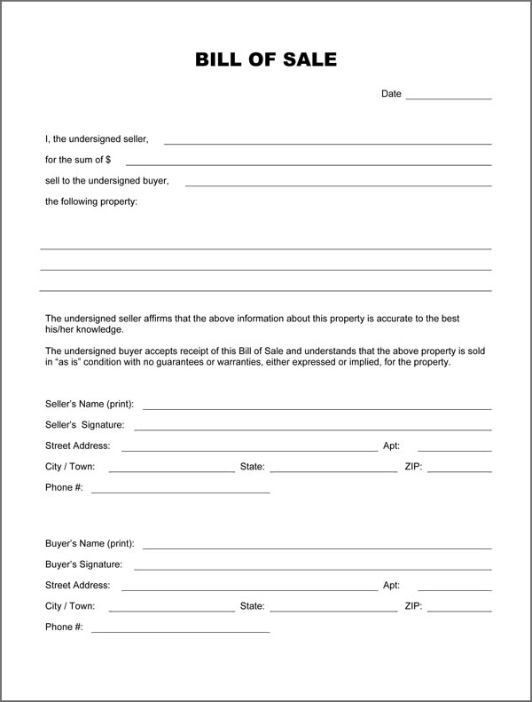 Blank Bill Of Sale Form - Download PDF/DOC Formats