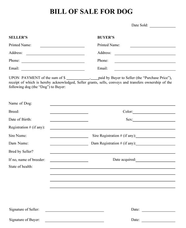 Dog Bill Of Sale - bill of sales forms