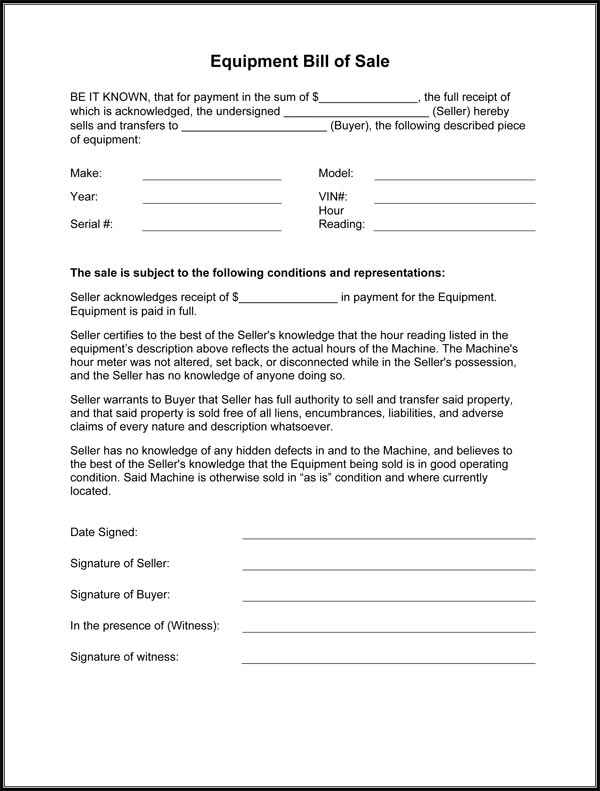 Equipment Bill Of Sale Form - equipment bill of sale